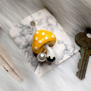 Yellow White Polka Dot Mushroom Pearl Brooch Pin